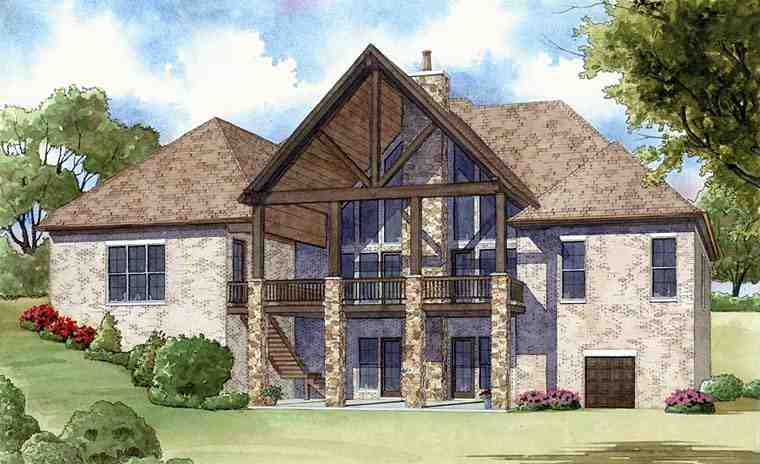 European House Plan 82401 with 4 Beds, 4 Baths, 4 Car Garage Rear Elevation