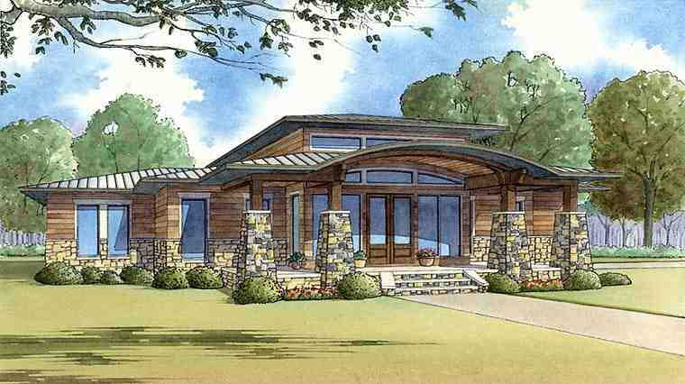 Contemporary, Prairie, Southwest House Plan 82413 with 3 Beds, 3 Baths, 2 Car Garage Elevation