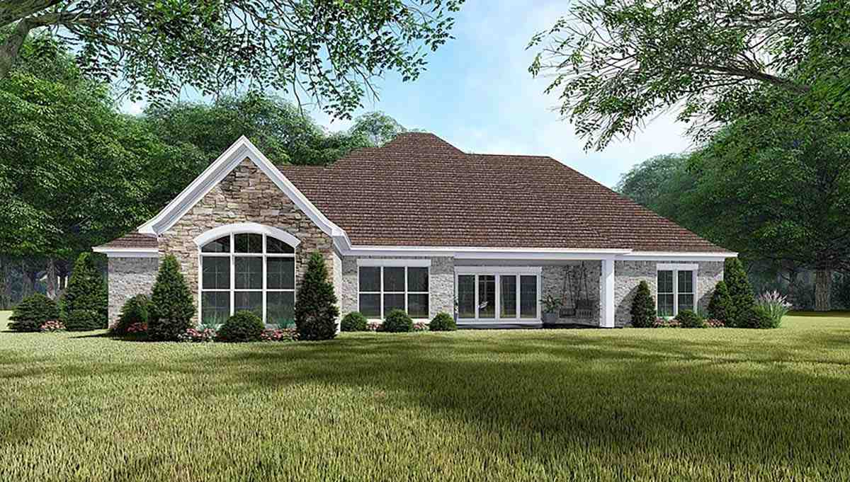 European, French Country, Traditional House Plan 82465 with 4 Beds, 3 Baths, 3 Car Garage Rear Elevation