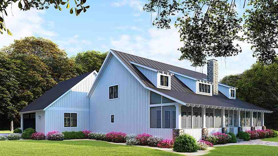 Country, Ranch House Plan 82508 with 3 Beds, 2 Baths, 2 Car Garage Picture 3