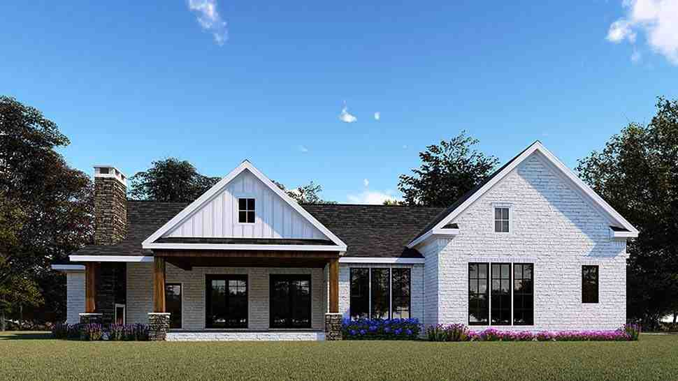 Bungalow, Craftsman, Farmhouse, One-Story House Plan 82557 with 3 Beds, 4 Baths, 2 Car Garage Rear Elevation