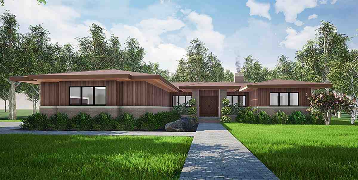 Contemporary, One-Story, Prairie House Plan 82559 with 3 Beds, 3 Baths, 2 Car Garage Elevation
