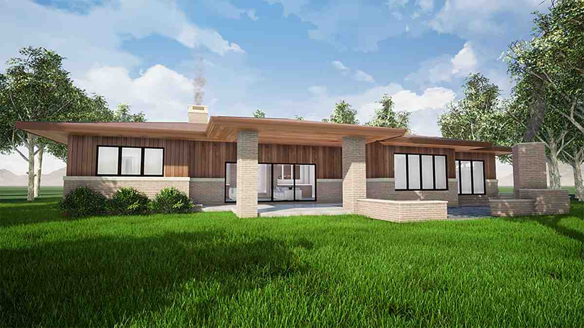 Contemporary, One-Story, Prairie House Plan 82559 with 3 Beds, 3 Baths, 2 Car Garage Rear Elevation