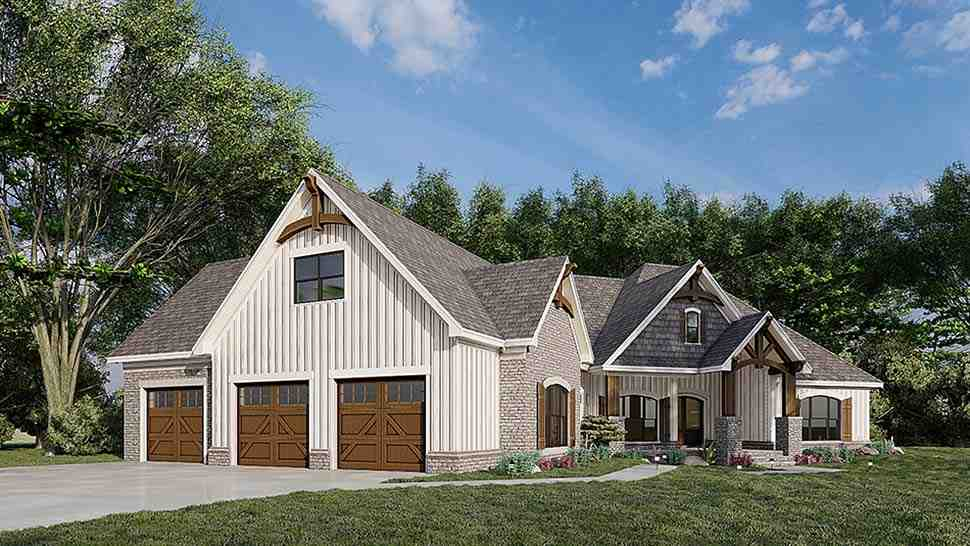 Bungalow, Craftsman, French Country House Plan 82583 with 3 Beds, 2 Baths, 3 Car Garage Picture 2