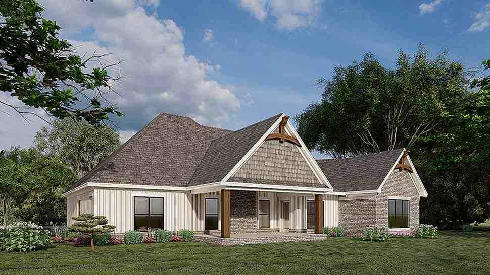 Bungalow, Craftsman, French Country House Plan 82583 with 3 Beds, 2 Baths, 3 Car Garage Rear Elevation