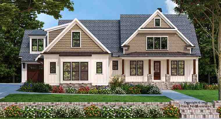 Craftsman, Farmhouse House Plan 83107 with 4 Beds, 4 Baths, 3 Car Garage Elevation