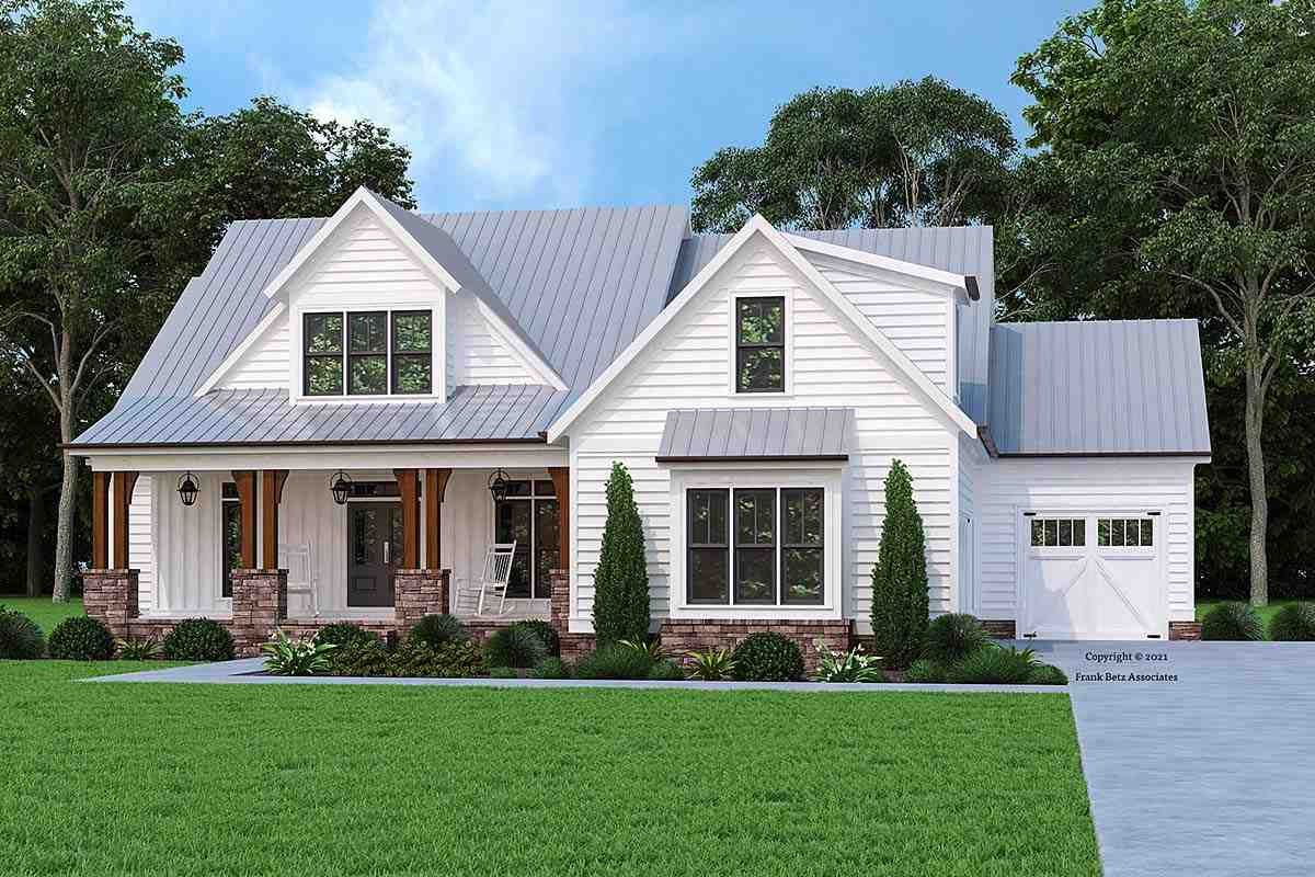 Country, Farmhouse House Plan 83122 with 4 Beds, 4 Baths, 3 Car Garage Elevation