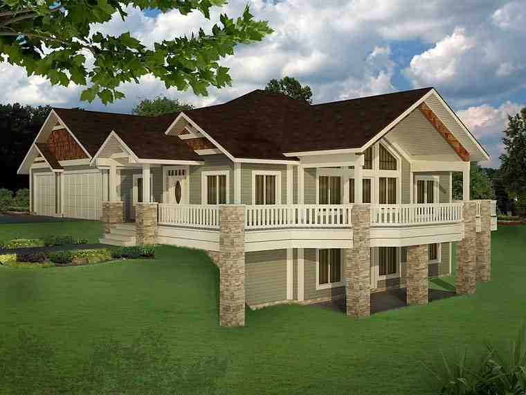 Bungalow, Contemporary, Craftsman, Traditional House Plan 85235 with 5 Beds, 4 Baths, 3 Car Garage Elevation