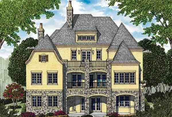Country, European House Plan 85656 with 4 Beds, 6 Baths, 3 Car Garage Rear Elevation