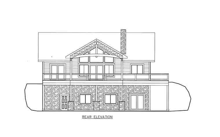 House Plan 85835 with 4 Beds, 4 Baths, 2 Car Garage Rear Elevation