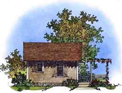 Cabin, Craftsman, Narrow Lot House Plan 86026 with 1 Beds, 1 Baths Rear Elevation