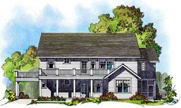 Colonial House Plan 86075 with 4 Beds, 3 Baths, 3 Car Garage Rear Elevation