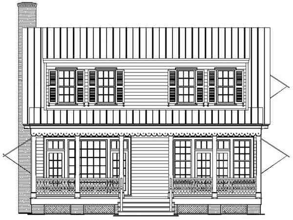 Bungalow, Cape Cod, Cottage, Country House Plan 86169 with 4 Beds, 4 Baths Rear Elevation