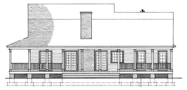 Colonial, Country, Farmhouse, Southern House Plan 86230 with 3 Beds, 3 Baths, 2 Car Garage Rear Elevation