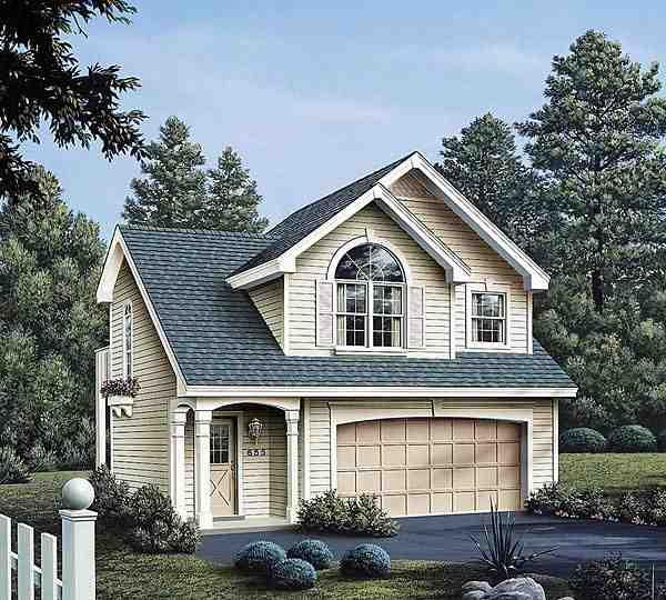Country, European, Traditional Garage-Living Plan 86903 with 1 Beds, 1 Baths, 2 Car Garage Elevation