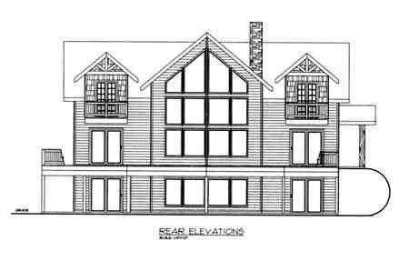 Country House Plan 87198 with 4 Beds, 4 Baths Rear Elevation