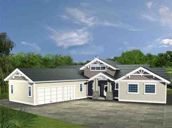 Contemporary, Traditional House Plan 87199 with 3 Beds, 3 Baths, 3 Car Garage Elevation