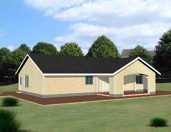 One-Story, Ranch House Plan 87201 with 3 Beds, 2 Baths, 1 Car Garage Elevation