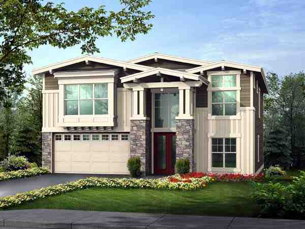 Contemporary, Craftsman House Plan 87667 with 5 Beds, 4 Baths, 3 Car Garage Elevation