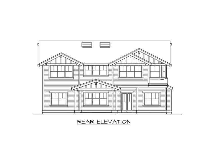 Craftsman House Plan 87671 with 5 Beds, 5 Baths, 3 Car Garage Rear Elevation