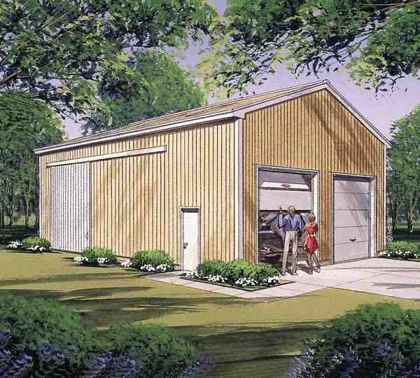 4 Car Garage Plan 87869 Elevation