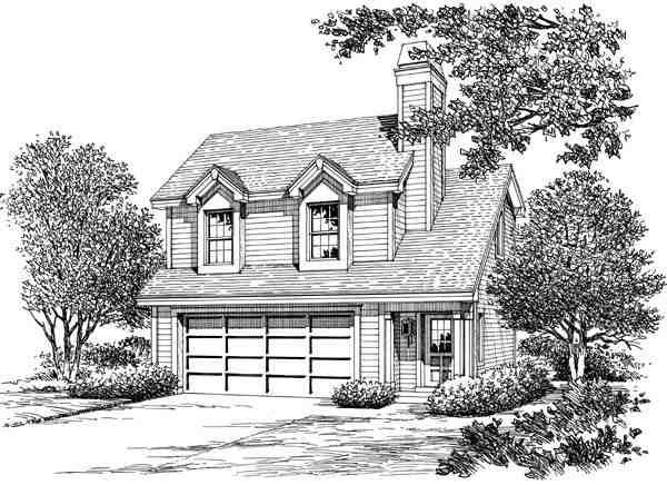 Cabin, Cottage, Country, Ranch, Traditional 2 Car Garage Apartment Plan 87891 with 1 Beds, 1 Baths Picture 3
