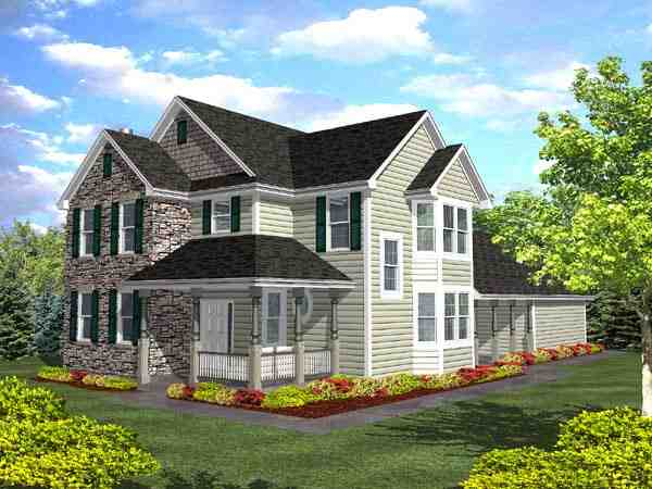 Country, Farmhouse, Traditional House Plan 88028 with 3 Beds, 2.5 Baths, 2 Car Garage Elevation