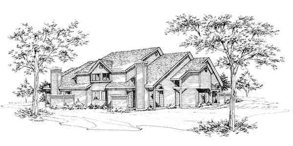 Traditional Multi-Family Plan 88407 with 6 Beds, 6 Baths, 4 Car Garage Elevation