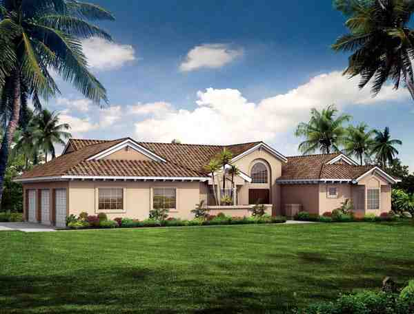 Mediterranean, Ranch, Southwest House Plan 90275 with 3 Beds, 2 Baths, 2 Car Garage Elevation