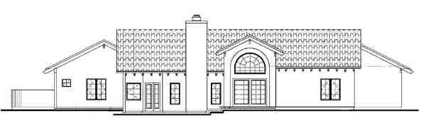 Mediterranean, Ranch, Southwest House Plan 90275 with 3 Beds, 2 Baths, 2 Car Garage Rear Elevation