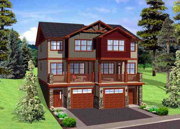 Multi-Family Plan 90887 with 8 Beds, 8 Baths, 2 Car Garage Elevation