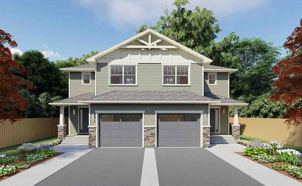Craftsman Multi-Family Plan 90891 with 6 Beds, 6 Baths, 2 Car Garage Picture 4