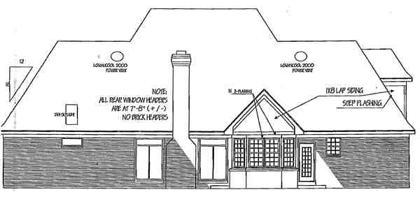 Colonial, European House Plan 91110 with 4 Beds, 4 Baths, 2 Car Garage Rear Elevation