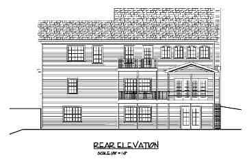 Traditional House Plan 92367 with 4 Beds, 3 Baths, 3 Car Garage Rear Elevation