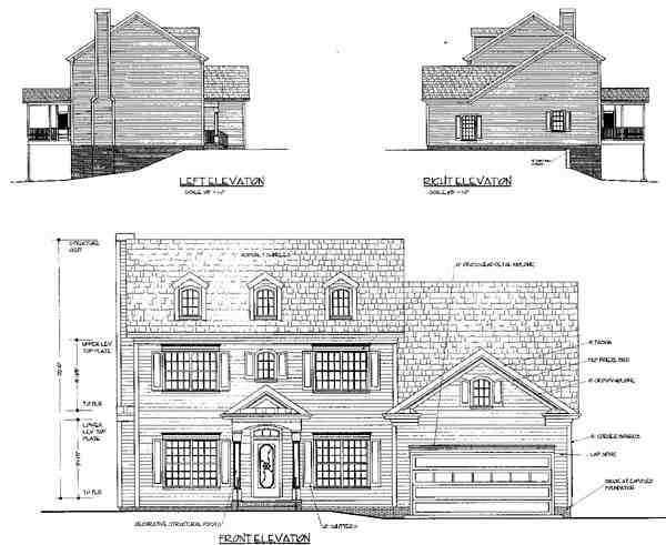 Colonial House Plan 92374 with 4 Beds, 3 Baths, 2 Car Garage Picture 1