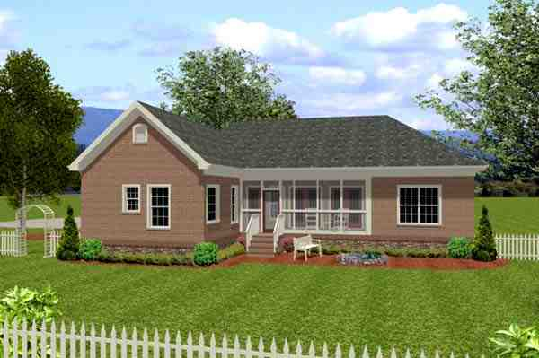 Traditional House Plan 92383 with 3 Beds, 3 Baths, 3 Car Garage Rear Elevation