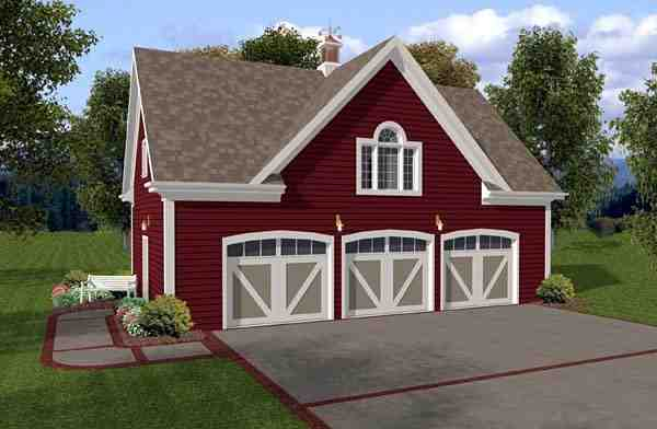 Country, Traditional 3 Car Garage Apartment Plan 93472 with 1 Beds, 1 Baths Elevation
