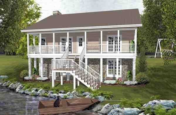 Cabin, Country, Ranch House Plan 93497 with 2 Beds, 2 Baths Rear Elevation