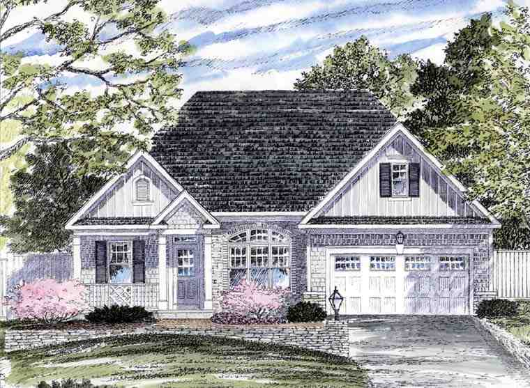 Cape Cod, Coastal, Cottage, Craftsman, Ranch House Plan 94133 with 2 Beds, 2 Baths, 2 Car Garage Elevation