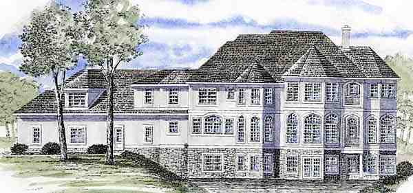 Traditional House Plan 94172 with 4 Beds, 6 Baths, 4 Car Garage Rear Elevation