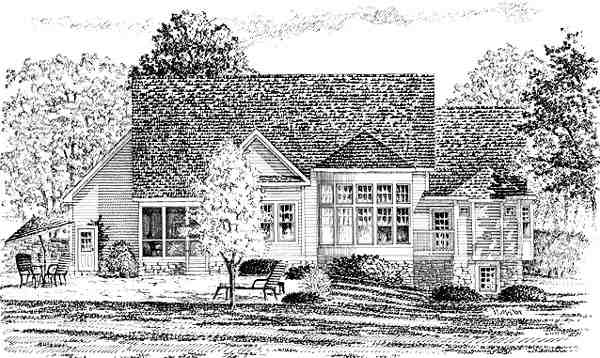 Country, European House Plan 94179 with 3 Beds, 3 Baths, 3 Car Garage Rear Elevation