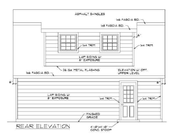 2 Car Garage Apartment Plan 94343 with 1 Beds, 1 Baths Rear Elevation
