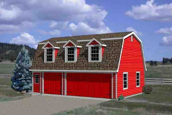 3 Car Garage Apartment Plan 94348 with 1 Beds, 1 Baths Elevation