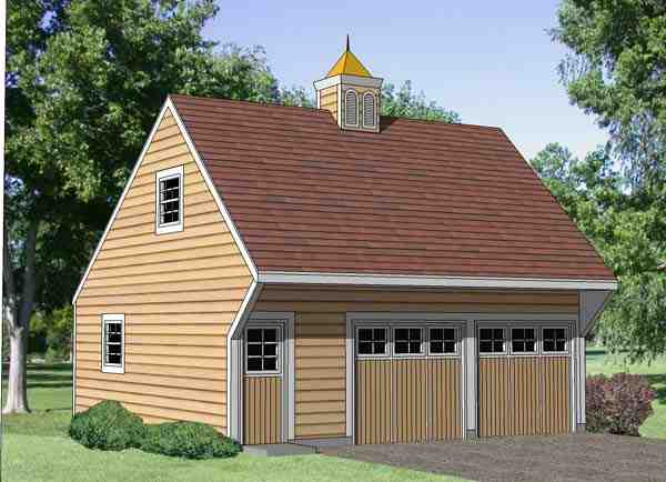 2 Car Garage Apartment Plan 94349 with 1 Beds, 1 Baths Elevation