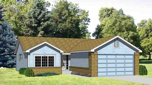 One-Story, Ranch House Plan 94364 with 2 Beds, 2 Baths, 2 Car Garage Elevation