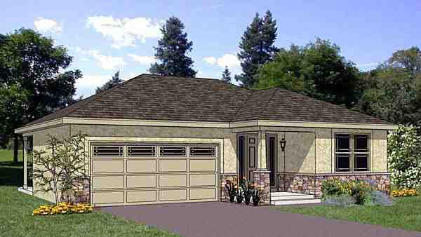 Narrow Lot, One-Story, Southwest House Plan 94467 with 3 Beds, 2 Baths, 2 Car Garage Elevation