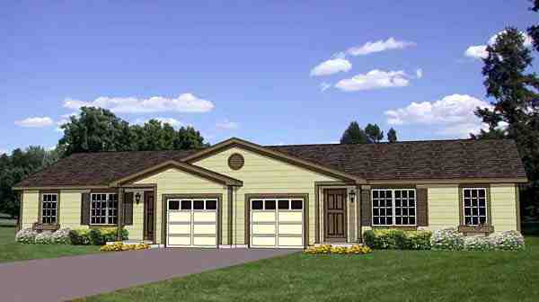 Traditional Multi-Family Plan 94482 with 5 Beds, 2 Baths, 2 Car Garage Elevation