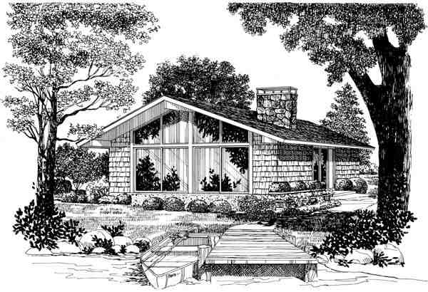 Contemporary, One-Story, Retro House Plan 95009 with 2 Beds, 1 Baths Elevation