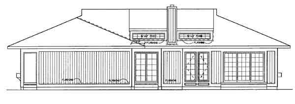 Prairie, Southwest House Plan 95039 with 3 Beds, 2 Baths Rear Elevation