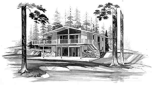 Contemporary House Plan 95119 with 4 Beds, 2 Baths Elevation